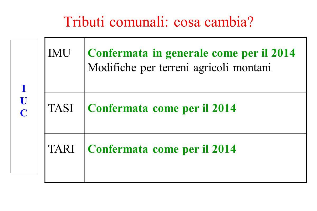 Tributi comunali: cosa cambia? IMUConfermata in generale come per il 2014 Modifiche per terreni agricoli montani TASIConfermata come per il 2014 TARIC
