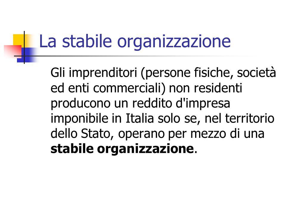La stabile organizzazione Gli imprenditori (persone fisiche, società ed enti commerciali) non residenti producono un reddito d'impresa imponibile in I