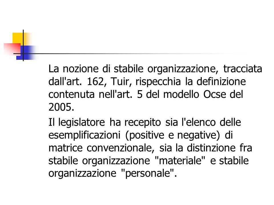 La nozione di stabile organizzazione, tracciata dall'art. 162, Tuir, rispecchia la definizione contenuta nell'art. 5 del modello Ocse del 2005. Il leg