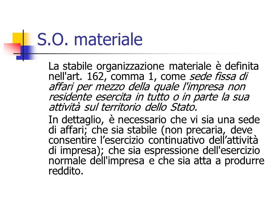 S.O. materiale La stabile organizzazione materiale è definita nell'art. 162, comma 1, come sede fissa di affari per mezzo della quale l'impresa non re