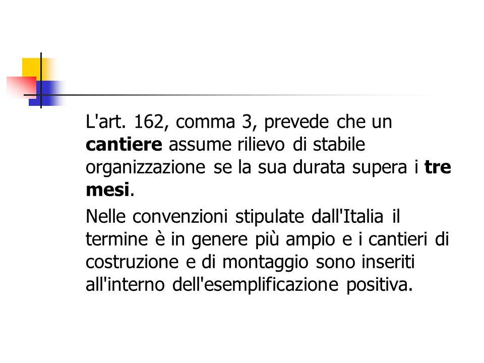 L'art. 162, comma 3, prevede che un cantiere assume rilievo di stabile organizzazione se la sua durata supera i tre mesi. Nelle convenzioni stipulate