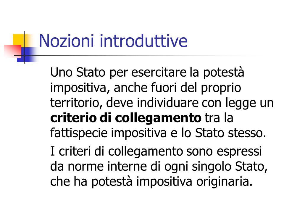 Nozioni introduttive Uno Stato per esercitare la potestà impositiva, anche fuori del proprio territorio, deve individuare con legge un criterio di col