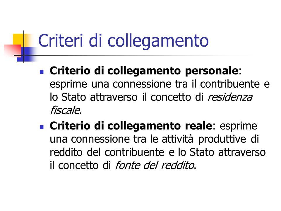 Criteri di collegamento Criterio di collegamento personale: esprime una connessione tra il contribuente e lo Stato attraverso il concetto di residenza