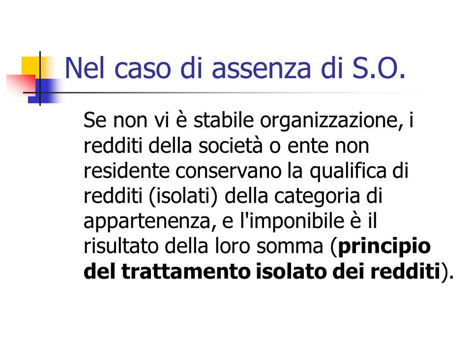 Nel caso di assenza di S.O. Se non vi è stabile organizzazione, i redditi della società o ente non residente conservano la qualifica di redditi (isola