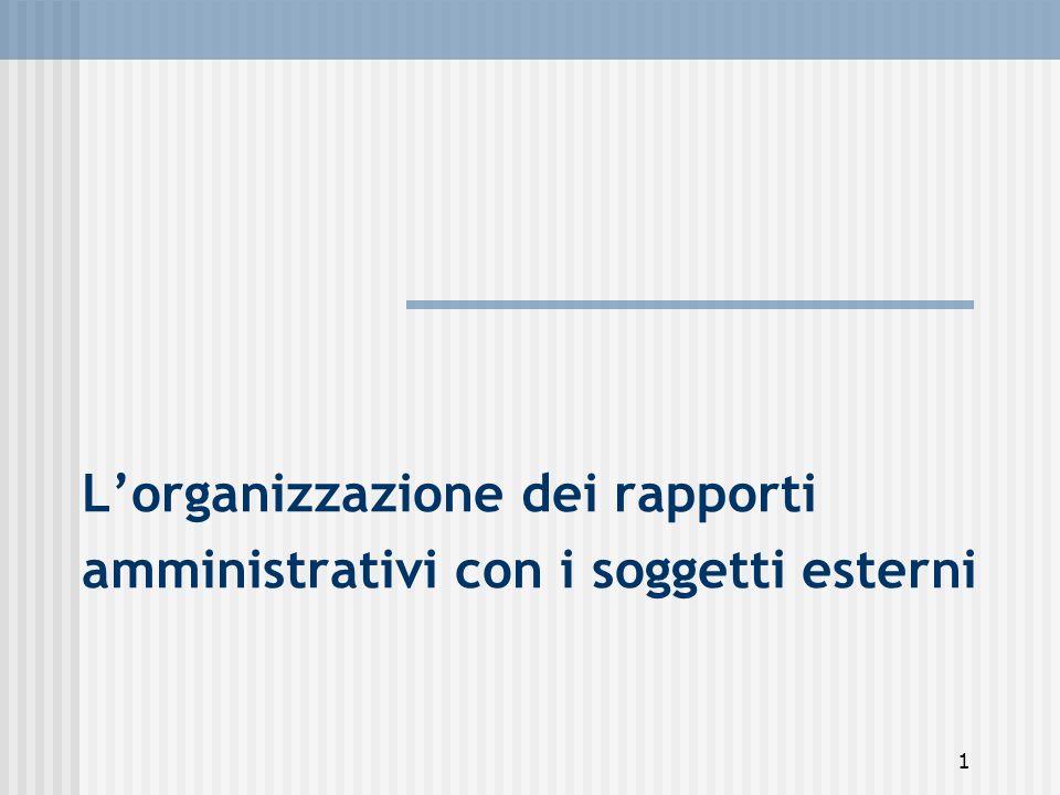 1 L'organizzazione dei rapporti amministrativi con i soggetti esterni