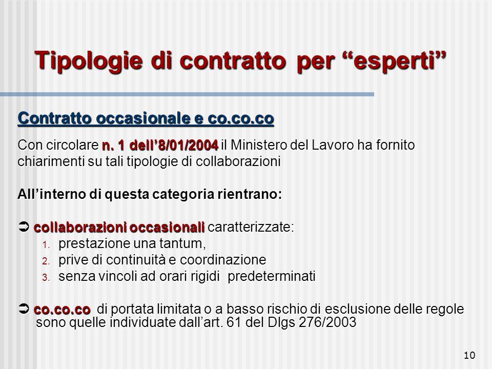 10 Tipologie di contratto per esperti Contratto occasionale e co.co.co Con circolare n.