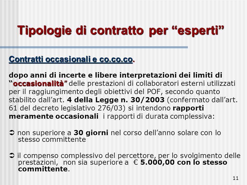 11 Tipologie di contratto per esperti Contratti occasionali e co.co.co.
