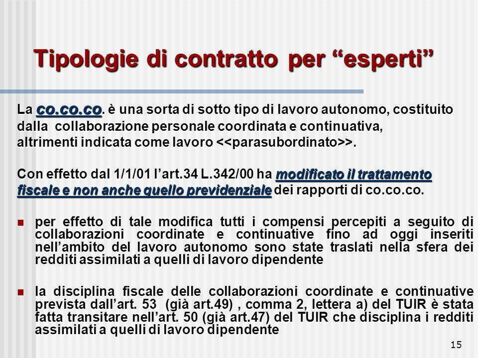 15 Tipologie di contratto per esperti La co.co.co.