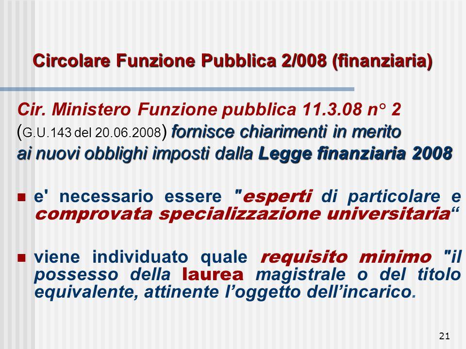 21 Circolare Funzione Pubblica 2/008 (finanziaria) Cir.
