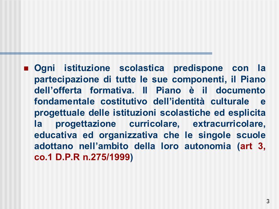 3 Ogni istituzione scolastica predispone con la partecipazione di tutte le sue componenti, il Piano dell'offerta formativa.