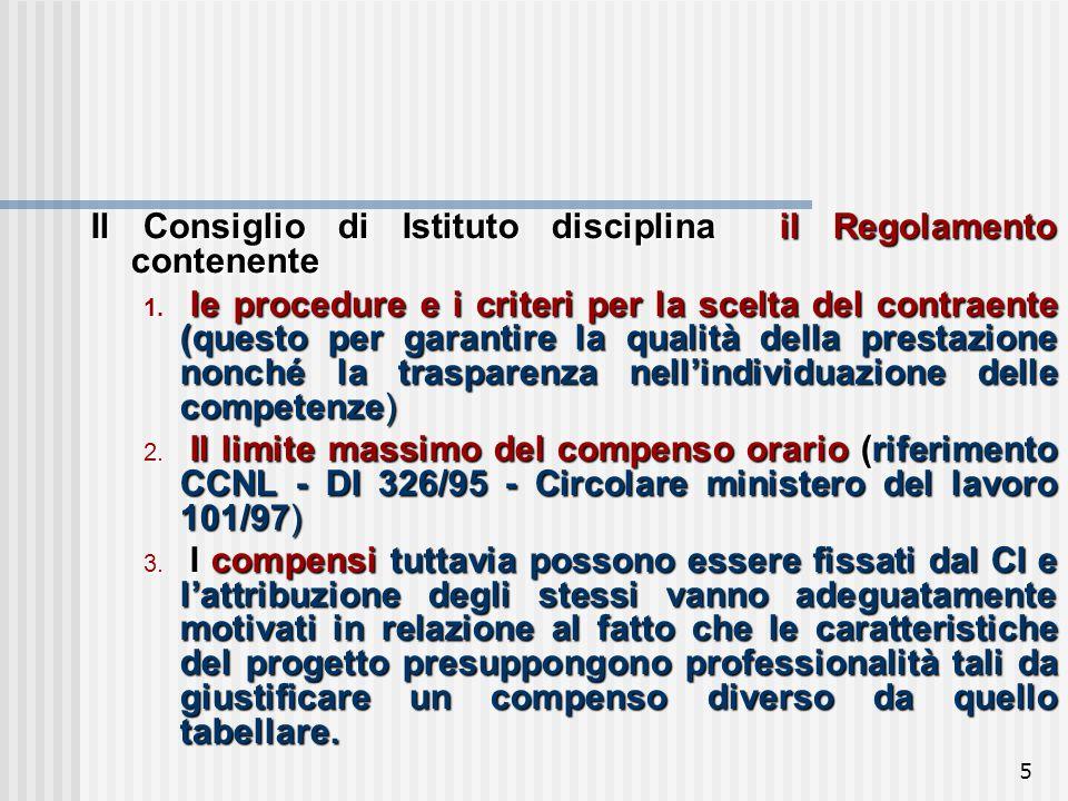 5 Il Consiglio di Istituto disciplina il Regolamento contenente 1.