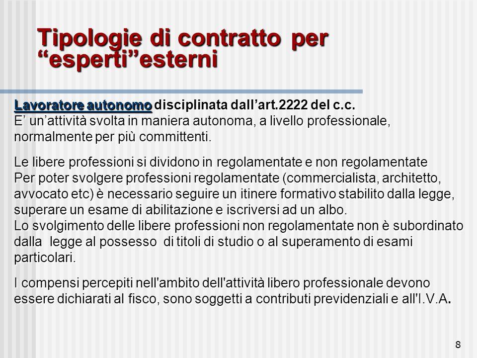 8 Tipologie di contratto per esperti esterni Lavoratore autonomo disciplinata dall'art.2222 del c.c.
