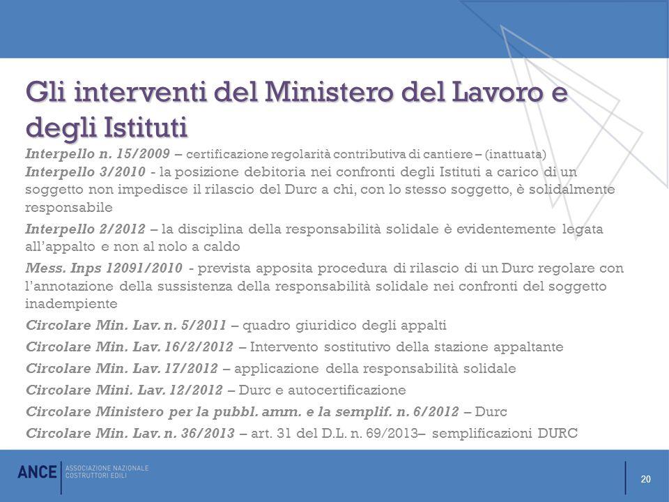 Gli interventi del Ministero del Lavoro e degli Istituti Interpello n.
