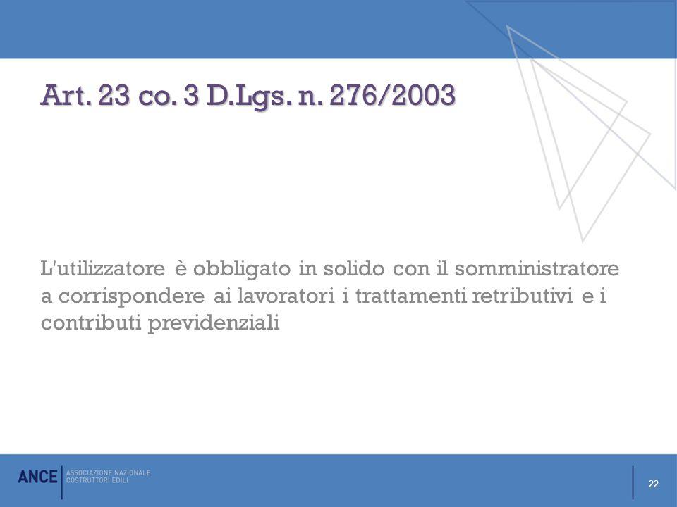 Art.23 co. 3 D.Lgs. n.