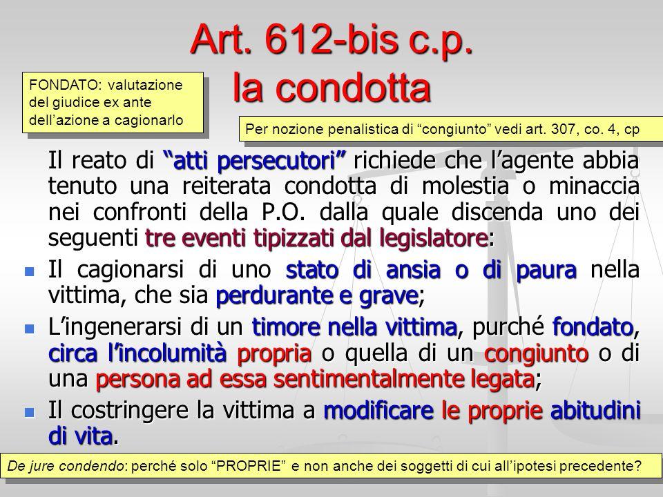 """Art. 612-bis c.p. la condotta Il reato di """"atti persecutori"""" richiede che l'agente abbia tenuto una reiterata condotta di molestia o minaccia nei conf"""