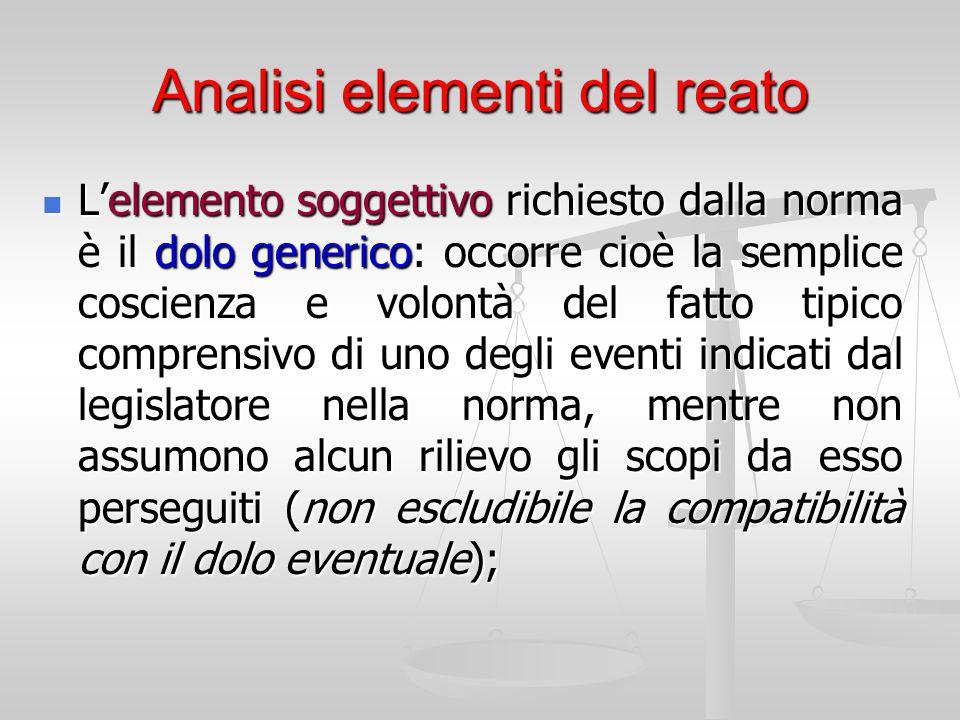 Analisi elementi del reato L'elemento soggettivo richiesto dalla norma è il dolo generico: occorre cioè la semplice coscienza e volontà del fatto tipi