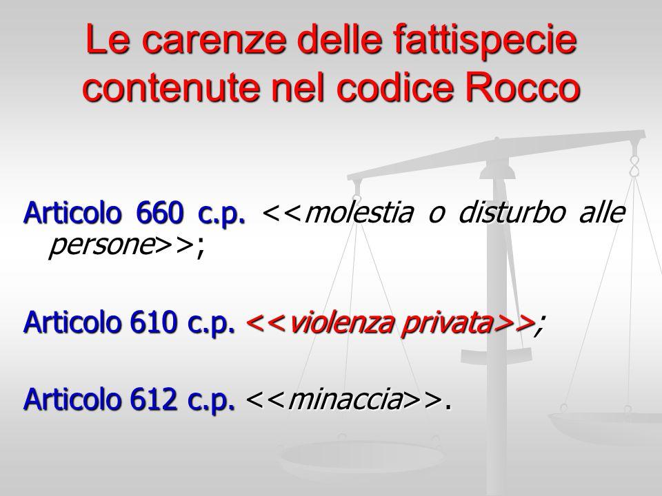 Le carenze delle fattispecie contenute nel codice Rocco Articolo 660 c.p. >; Articolo 610 c.p. >; Articolo 612 c.p. >.