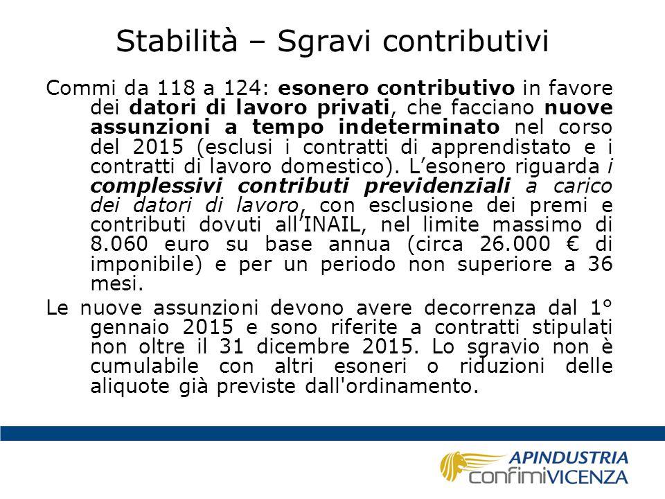 Stabilità – Sgravi contributivi Commi da 118 a 124: esonero contributivo in favore dei datori di lavoro privati, che facciano nuove assunzioni a tempo