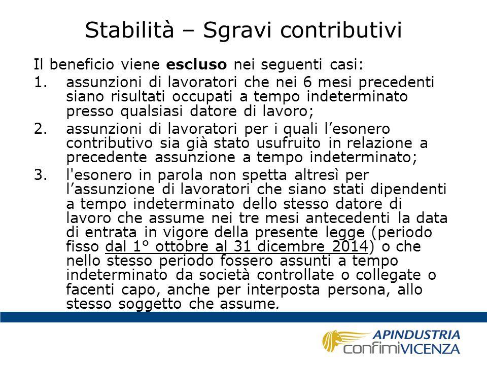 Stabilità – Sgravi contributivi Il beneficio viene escluso nei seguenti casi: 1.assunzioni di lavoratori che nei 6 mesi precedenti siano risultati occ