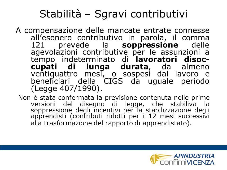 Stabilità – Sgravi contributivi A compensazione delle mancate entrate connesse all'esonero contributivo in parola, il comma 121 prevede la soppression