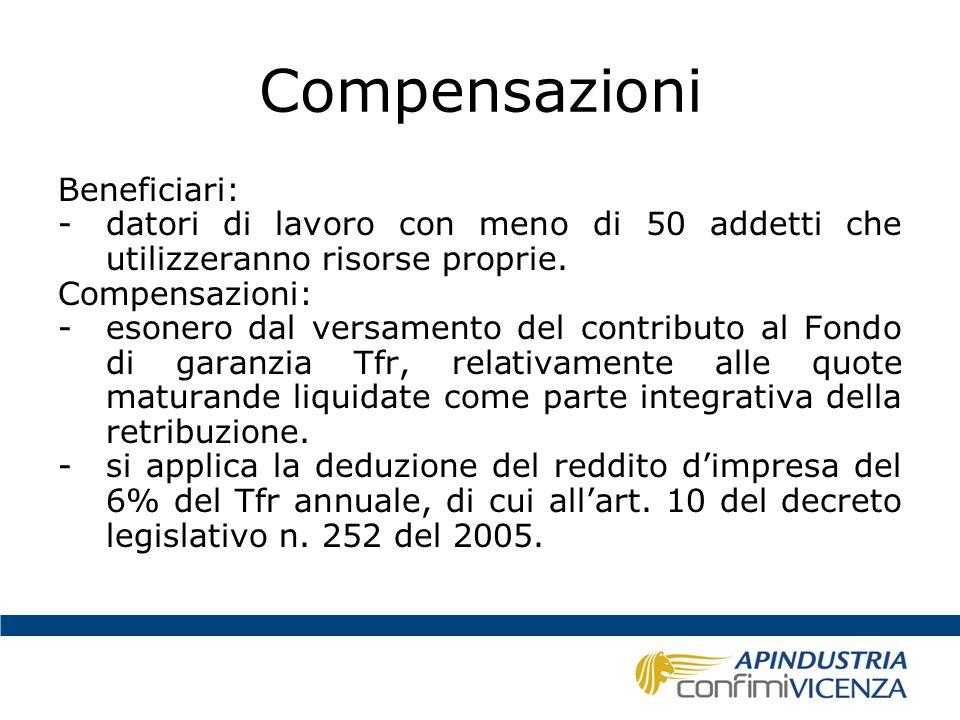 Compensazioni Beneficiari: -datori di lavoro con meno di 50 addetti che utilizzeranno risorse proprie. Compensazioni: -esonero dal versamento del cont