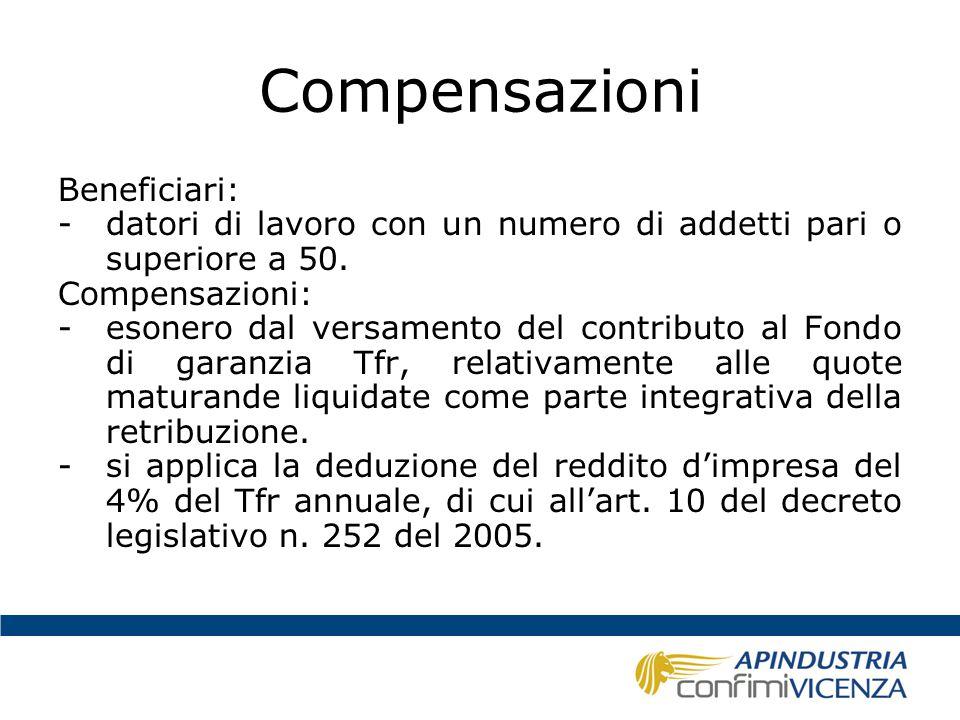 Compensazioni Beneficiari: -datori di lavoro con un numero di addetti pari o superiore a 50. Compensazioni: -esonero dal versamento del contributo al