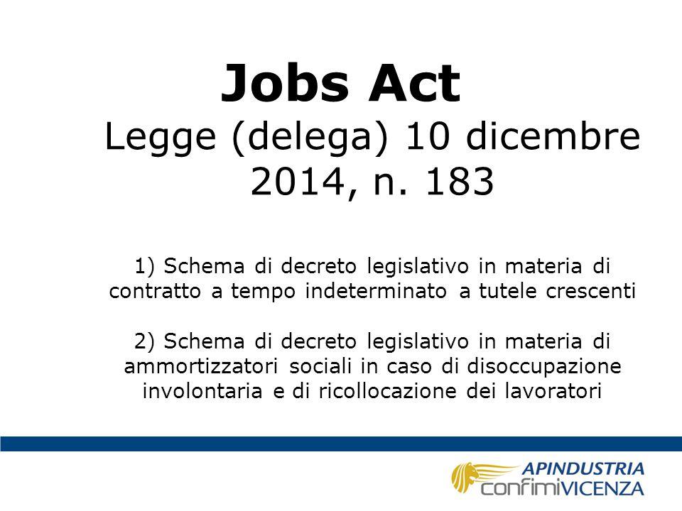 Jobs Act Legge (delega) 10 dicembre 2014, n. 183 1) Schema di decreto legislativo in materia di contratto a tempo indeterminato a tutele crescenti 2)