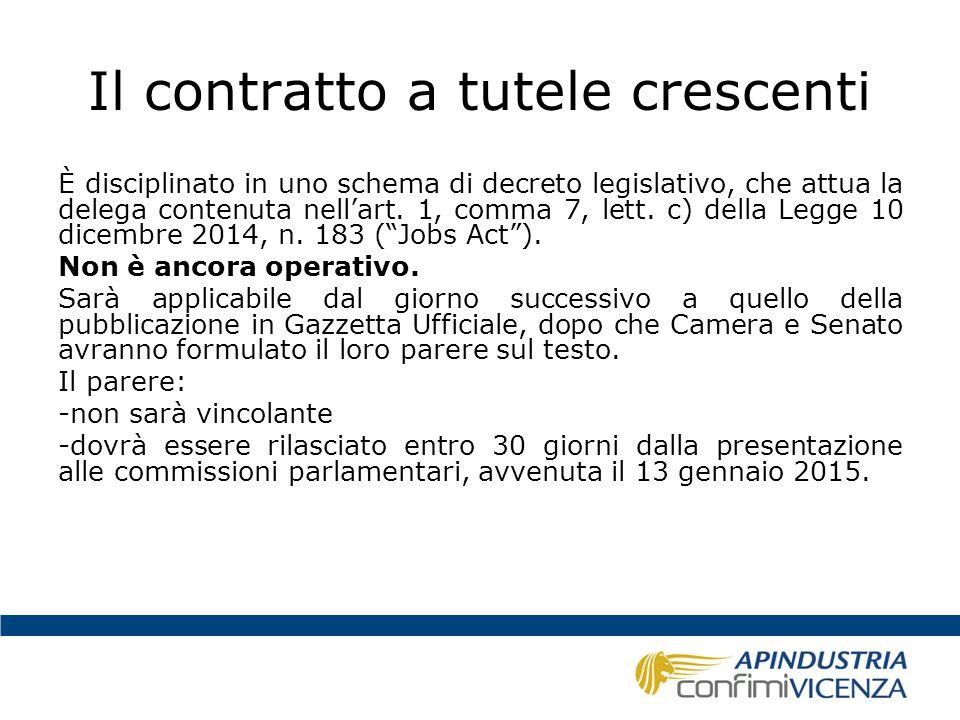 Il contratto a tutele crescenti È disciplinato in uno schema di decreto legislativo, che attua la delega contenuta nell'art. 1, comma 7, lett. c) dell