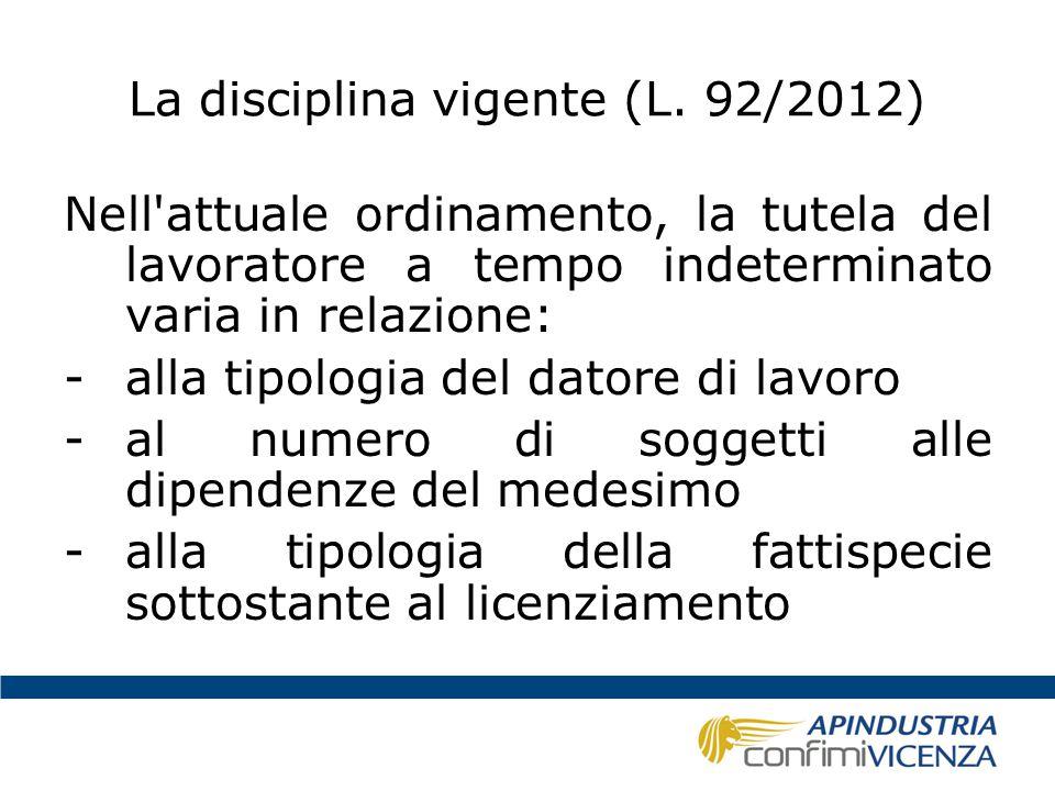 La disciplina vigente (L. 92/2012) Nell'attuale ordinamento, la tutela del lavoratore a tempo indeterminato varia in relazione: -alla tipologia del da