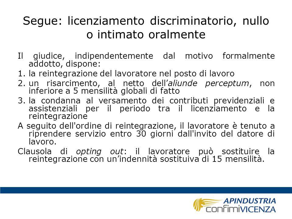 Segue: licenziamento discriminatorio, nullo o intimato oralmente Il giudice, indipendentemente dal motivo formalmente addotto, dispone: 1.la reintegra