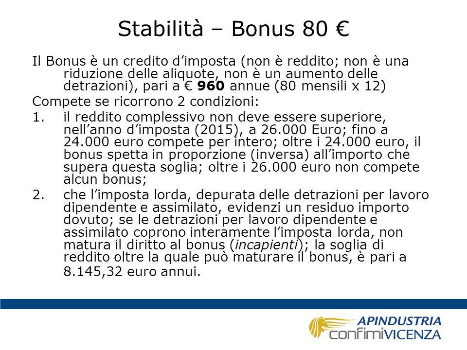 Stabilità – Bonus 80 € Il Bonus è un credito d'imposta (non è reddito; non è una riduzione delle aliquote, non è un aumento delle detrazioni), pari a