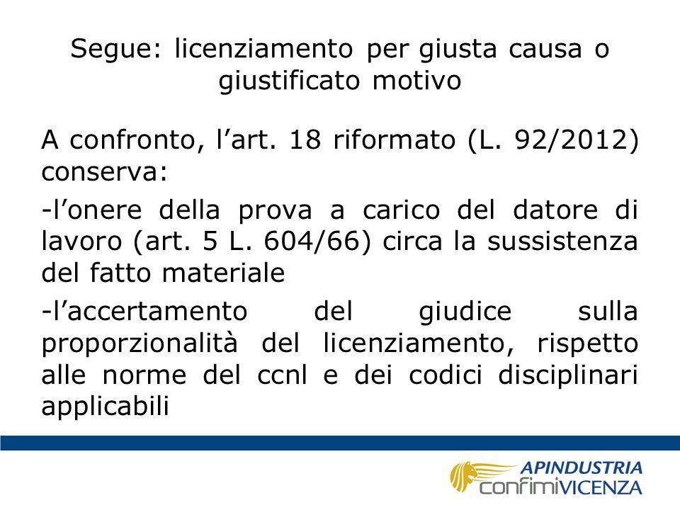 Segue: licenziamento per giusta causa o giustificato motivo A confronto, l'art. 18 riformato (L. 92/2012) conserva: -l'onere della prova a carico del