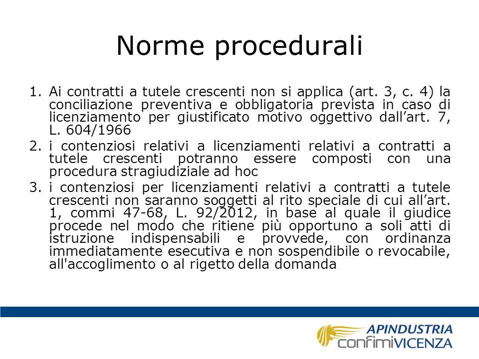 Norme procedurali 1.Ai contratti a tutele crescenti non si applica (art. 3, c. 4) la conciliazione preventiva e obbligatoria prevista in caso di licen
