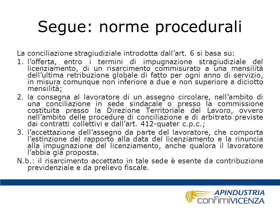 Segue: norme procedurali La conciliazione stragiudiziale introdotta dall'art. 6 si basa su: 1.l'offerta, entro i termini di impugnazione stragiudizial