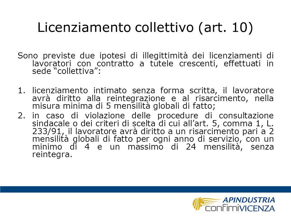 Licenziamento collettivo (art. 10) Sono previste due ipotesi di illegittimità dei licenziamenti di lavoratori con contratto a tutele crescenti, effett