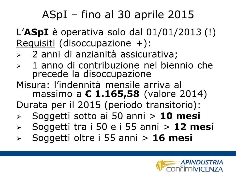 ASpI – fino al 30 aprile 2015 L'ASpI è operativa solo dal 01/01/2013 (!) Requisiti (disoccupazione +):  2 anni di anzianità assicurativa;  1 anno di