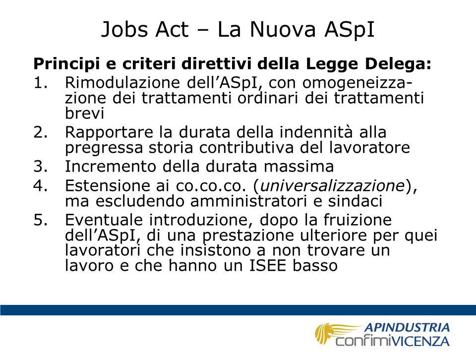 Jobs Act – La Nuova ASpI Quattro le prestazioni che si prevede di introdurre: 1.La Nuova Assicurazione Sociale per l'Impiego – NASpI; 2.L'Assegno di Disoccupazione – ASDI 3.L'indennità di disoccupazione per i co.co.co.