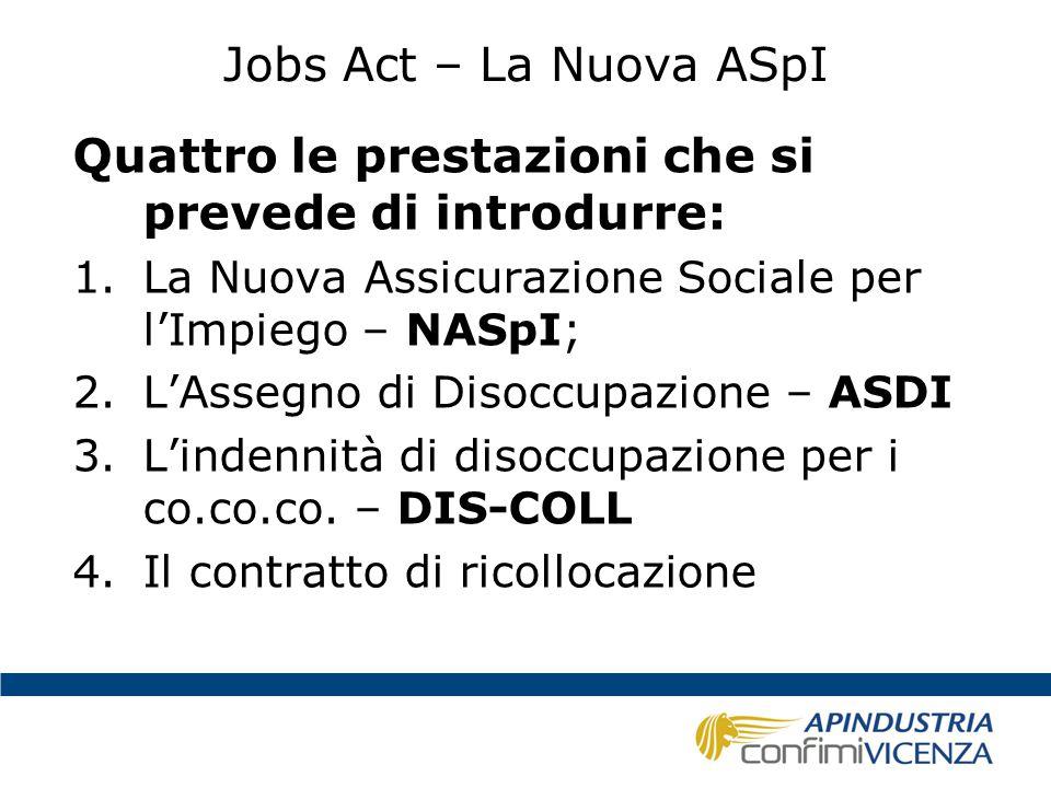 Jobs Act – La Nuova ASpI Quattro le prestazioni che si prevede di introdurre: 1.La Nuova Assicurazione Sociale per l'Impiego – NASpI; 2.L'Assegno di D
