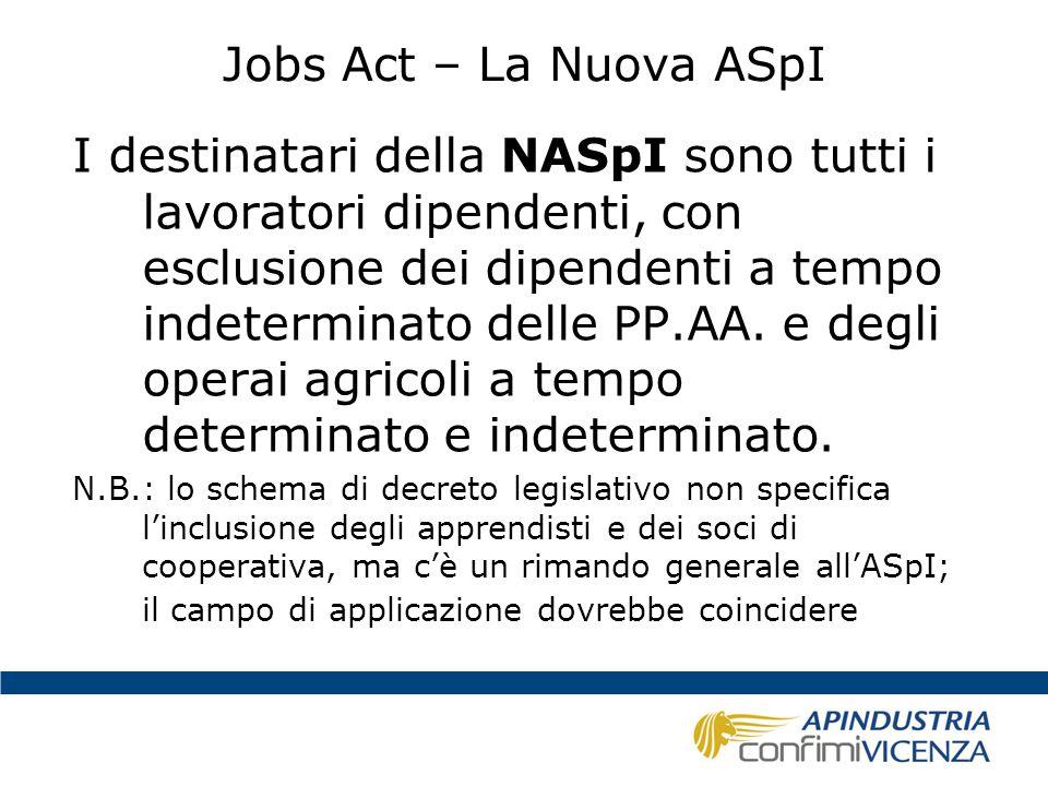 Jobs Act – La Nuova ASpI La NASpI si applica dal 1° maggio 2015 Requisiti (disoccupazione +):  Almeno 13 settimane di contribuzione nei 4 anni precedenti l'inizio della disoccupazione;  Almeno 30 giornate di lavoro effettivo, a prescindere dal minimale contributivo, nei 12 mesi precedenti l'inizio della disoccupazione Misura: l'indennità mensile arriva al massimo a € 1.300,00 (da rivalutare annualmente) Durata (per tutti): la metà delle settimane di contribuzione degli ultimi 4 anni > max 24 mesi.