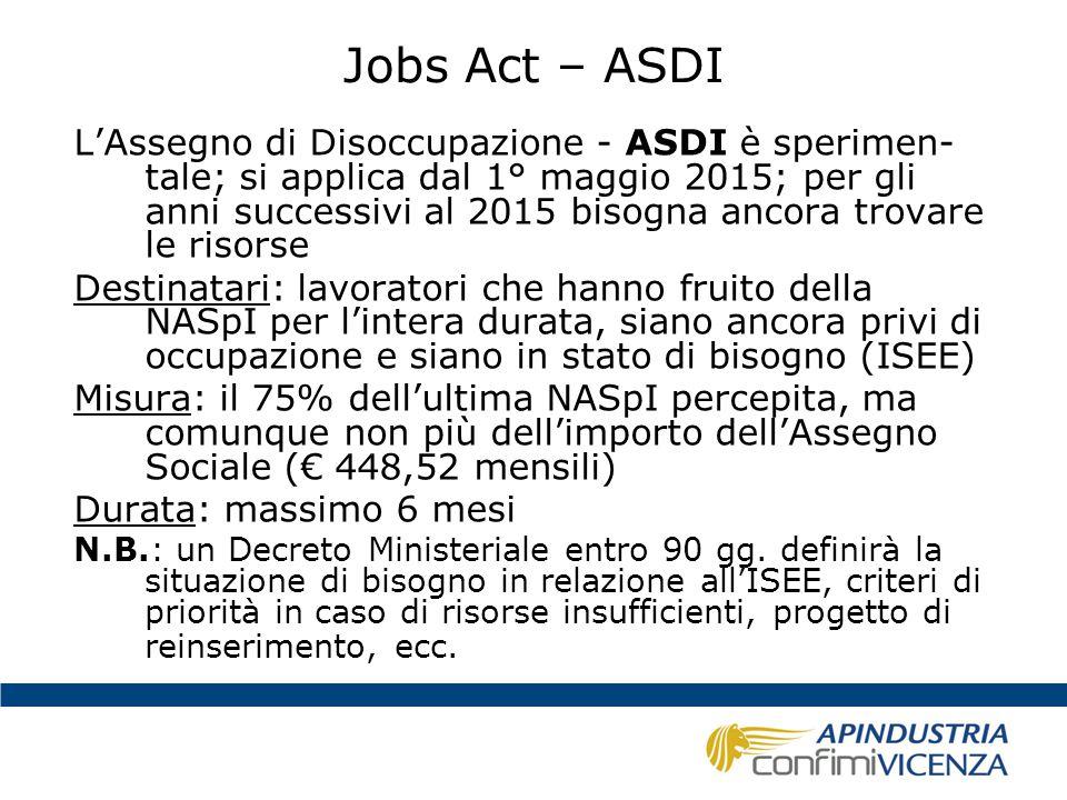 Jobs Act – ASDI L'Assegno di Disoccupazione - ASDI è sperimen- tale; si applica dal 1° maggio 2015; per gli anni successivi al 2015 bisogna ancora tro