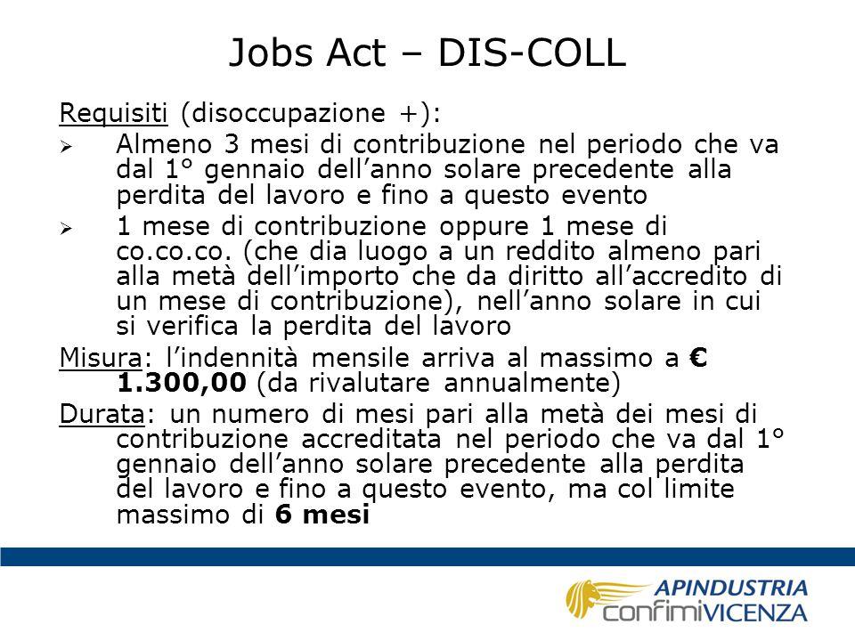 Jobs Act – DIS-COLL Requisiti (disoccupazione +):  Almeno 3 mesi di contribuzione nel periodo che va dal 1° gennaio dell'anno solare precedente alla
