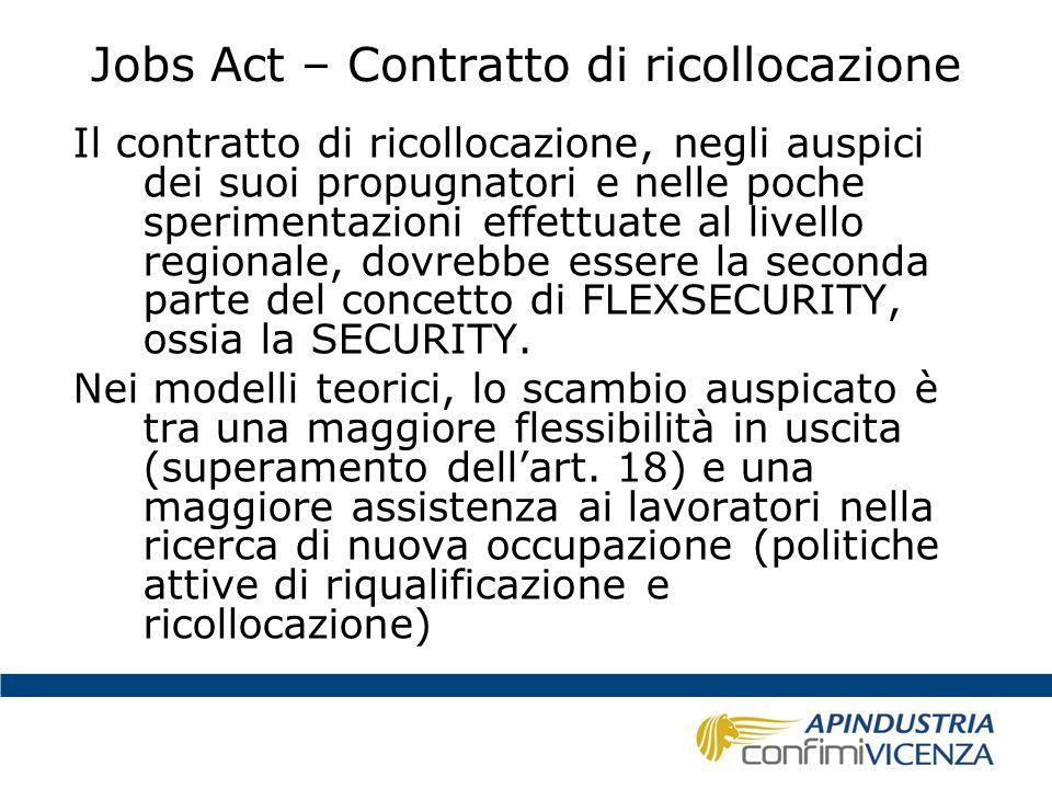Jobs Act – Contratto di ricollocazione Il contratto di ricollocazione, negli auspici dei suoi propugnatori e nelle poche sperimentazioni effettuate al