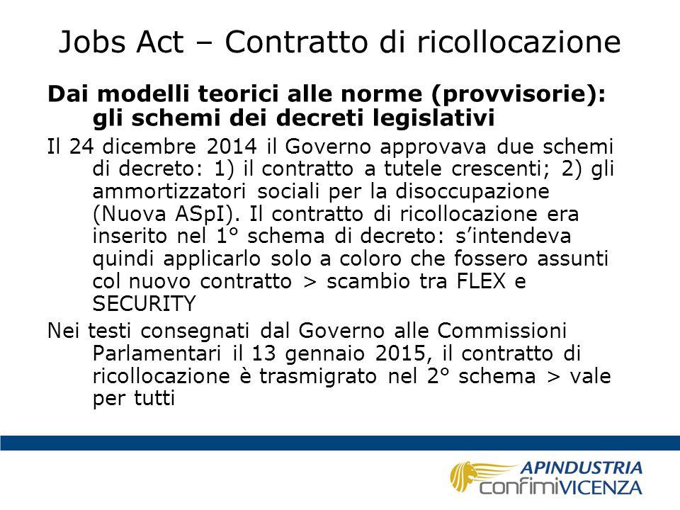 Jobs Act – Contratto di ricollocazione Dai modelli teorici alle norme (provvisorie): gli schemi dei decreti legislativi Il 24 dicembre 2014 il Governo
