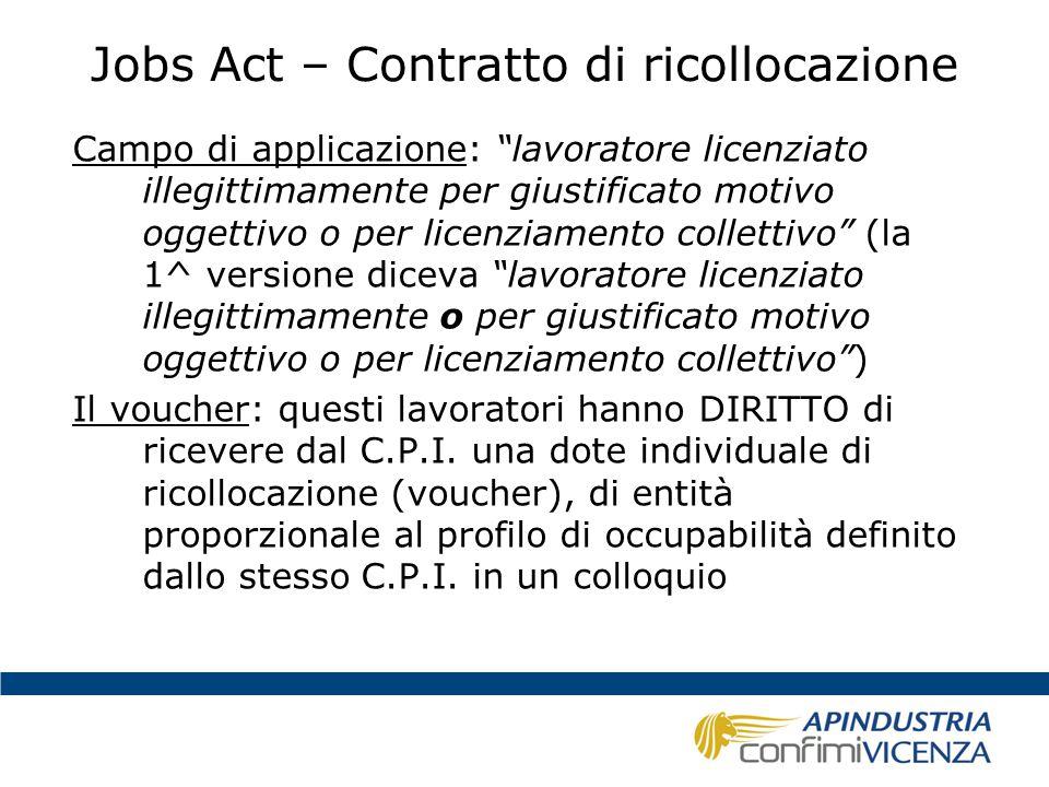 """Jobs Act – Contratto di ricollocazione Campo di applicazione: """"lavoratore licenziato illegittimamente per giustificato motivo oggettivo o per licenzia"""