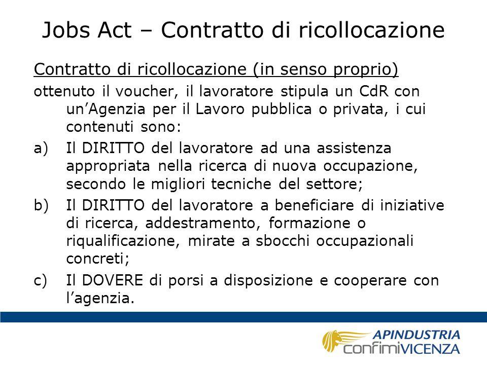 Jobs Act – Contratto di ricollocazione Contratto di ricollocazione (in senso proprio) ottenuto il voucher, il lavoratore stipula un CdR con un'Agenzia