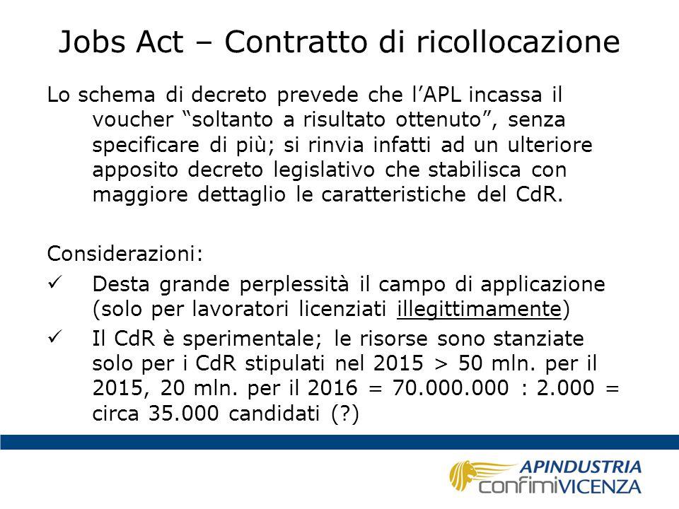 """Jobs Act – Contratto di ricollocazione Lo schema di decreto prevede che l'APL incassa il voucher """"soltanto a risultato ottenuto"""", senza specificare di"""