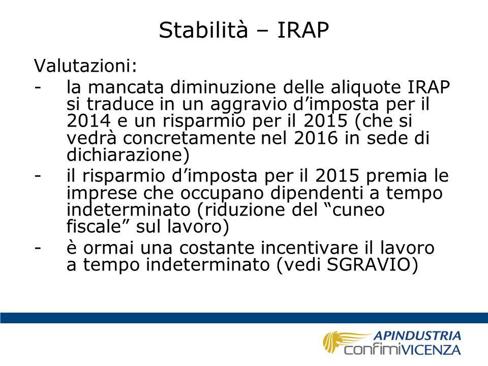 Stabilità – IRAP Valutazioni: -la mancata diminuzione delle aliquote IRAP si traduce in un aggravio d'imposta per il 2014 e un risparmio per il 2015 (