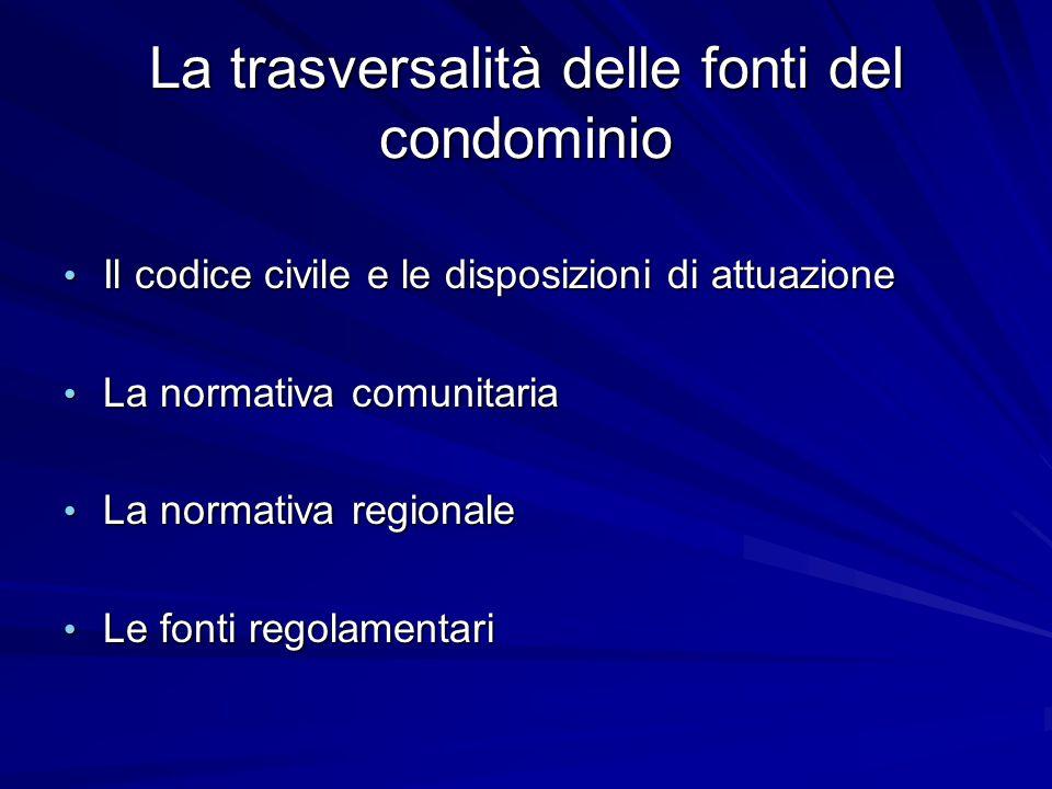 La trasversalità delle fonti del condominio Il codice civile e le disposizioni di attuazione Il codice civile e le disposizioni di attuazione La norma