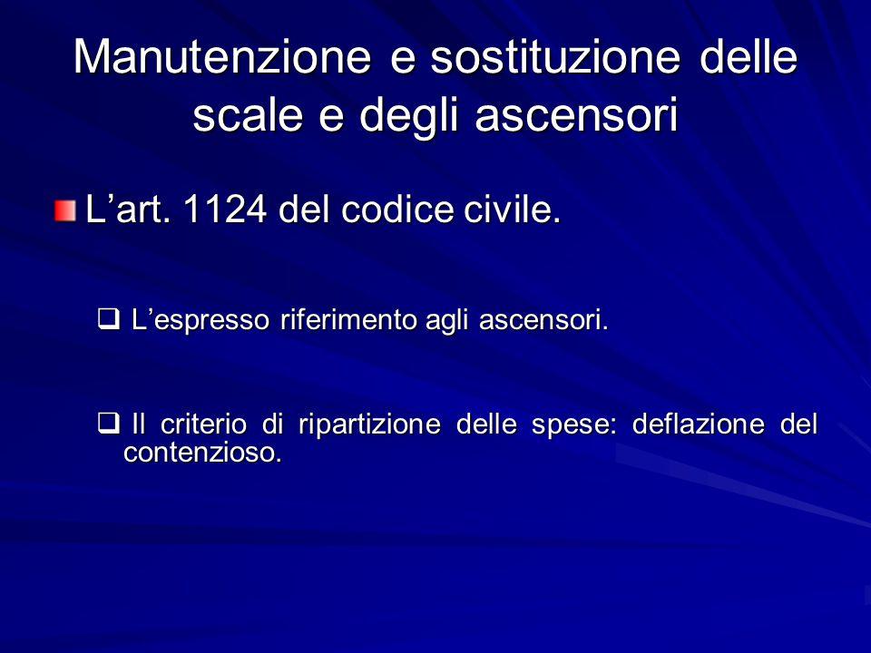 Manutenzione e sostituzione delle scale e degli ascensori L'art. 1124 del codice civile.  L'espresso riferimento agli ascensori.  Il criterio di rip