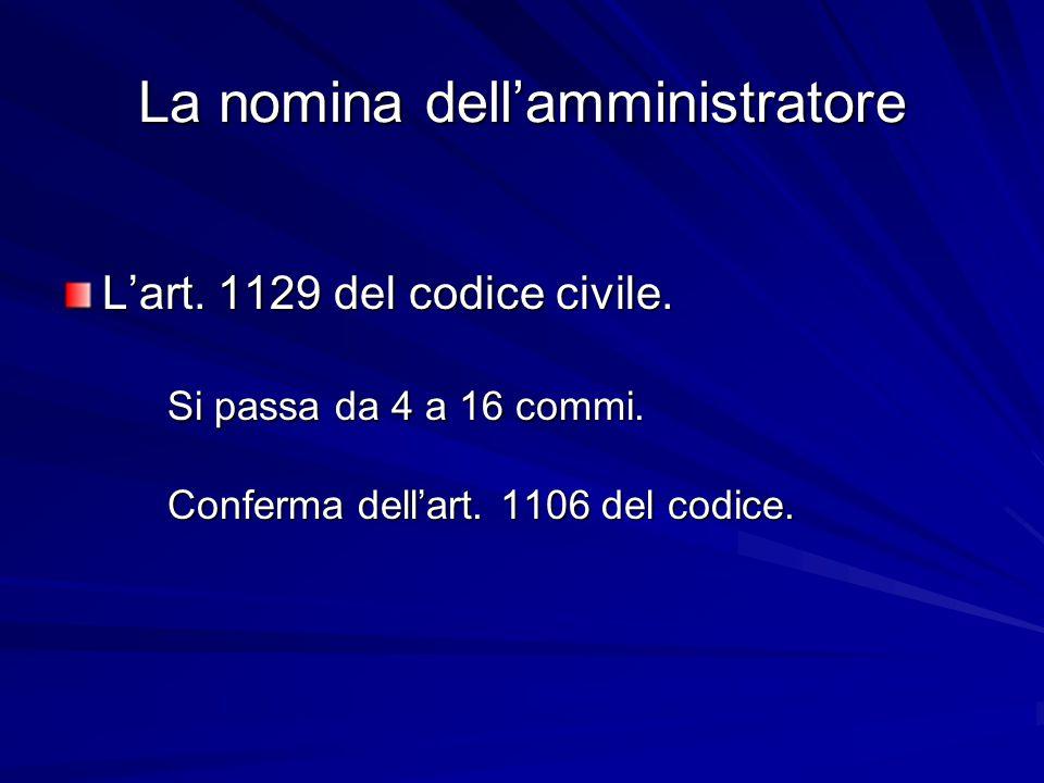 La nomina dell'amministratore L'art. 1129 del codice civile. Si passa da 4 a 16 commi. Conferma dell'art. 1106 del codice.